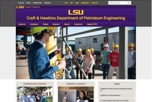 Luisiana State University Petroleum Engineering wesbite screenshot