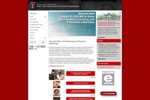 Texas Tech University Bob L. Herd Department of Petroleum Engineering website screenshot