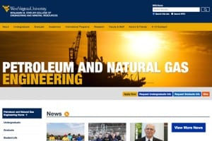 Petroleum and Natural Gas Engineering Home Petroleum and Natural Gas Engineering West Virginia University website screenshot