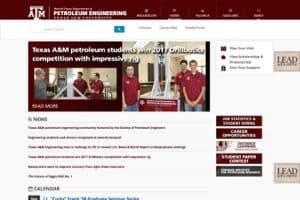 Texas A&M Petroleum Engineering College of Engineering website screenshot