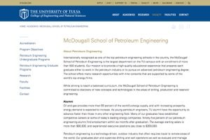 University of Tulsa McDougall School of Petroleum Engineering College of Engineering secrrenshot and weblink