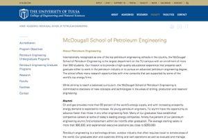 University of Tulsa McDougall School of Petroleum Engineering College of Engineering secrrenshot and weblink
