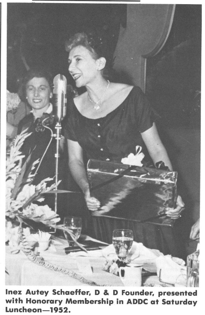 Inez Autey Schaeffer, ADDC founder, accepting award in Houston, 1952.