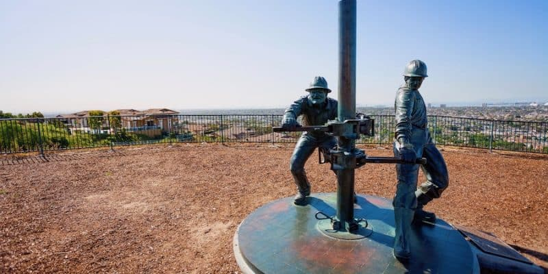 oil worker monument on a hill near Los Angeles, California