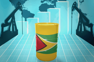 The Guyanese flag on an oil barrel vector with the globs and oil pumps in the background