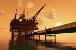 Vector of an oil platform and pipeline used for oil and gas production