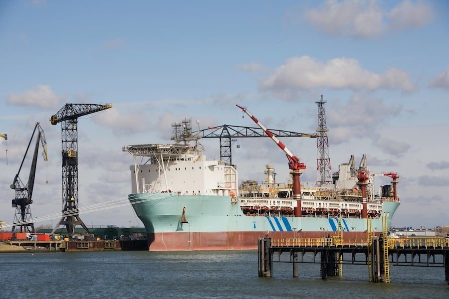 An FPSO ( Floating Production and Storage Offloading Ship