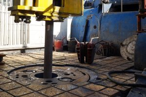 Photo of a drilling floor on an offshore oil rig